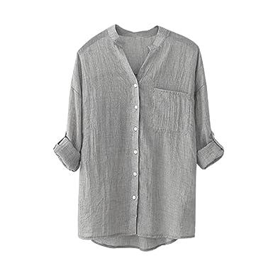 eae858b2e95 Janly Woman Blouse, Plain Linen Button Down Tops Long Sleeve Shirts 5  Colors (S
