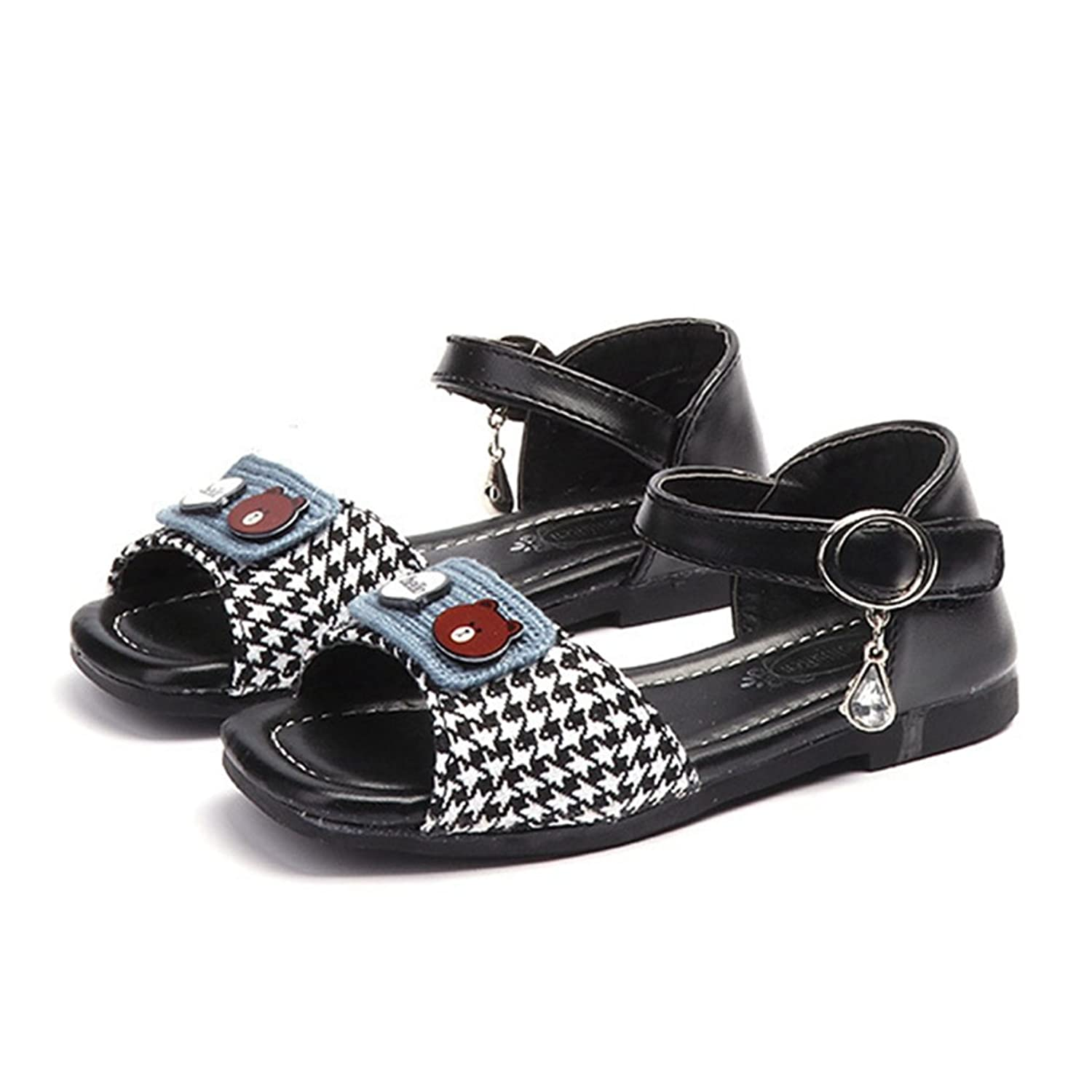 CYBLING Girls Flat Sandals Casual Non-Slip Open Toe Slide Shoes with Ankle Strap (Toddler/Little Kid)