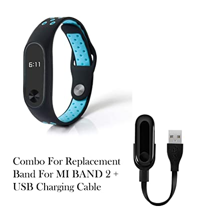 JSTBUY LABEL Replacement Waterproof Wrist Strap for Xiaomi MI Band 2 and  HRX Edition and Charging Cable (Black+Blue and USB Cable)