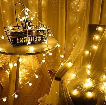 Cadena de Luces, 20 LEDs 3m Tiras bombilla Bola Redonda Decorativa Blanco Cálido Baterías Powered