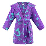ARCTIC Paw Girls Ultra Soft and Cozy Kids Plush Hooded Fleece Robe,Mermaid,L