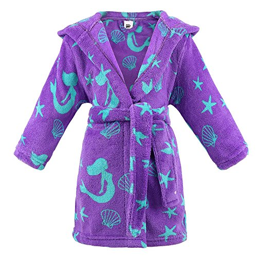 ARCTIC Paw Girls Kids Ultra Soft and Cozy Plush Hooded Fleece Robe,Mermaid,M -