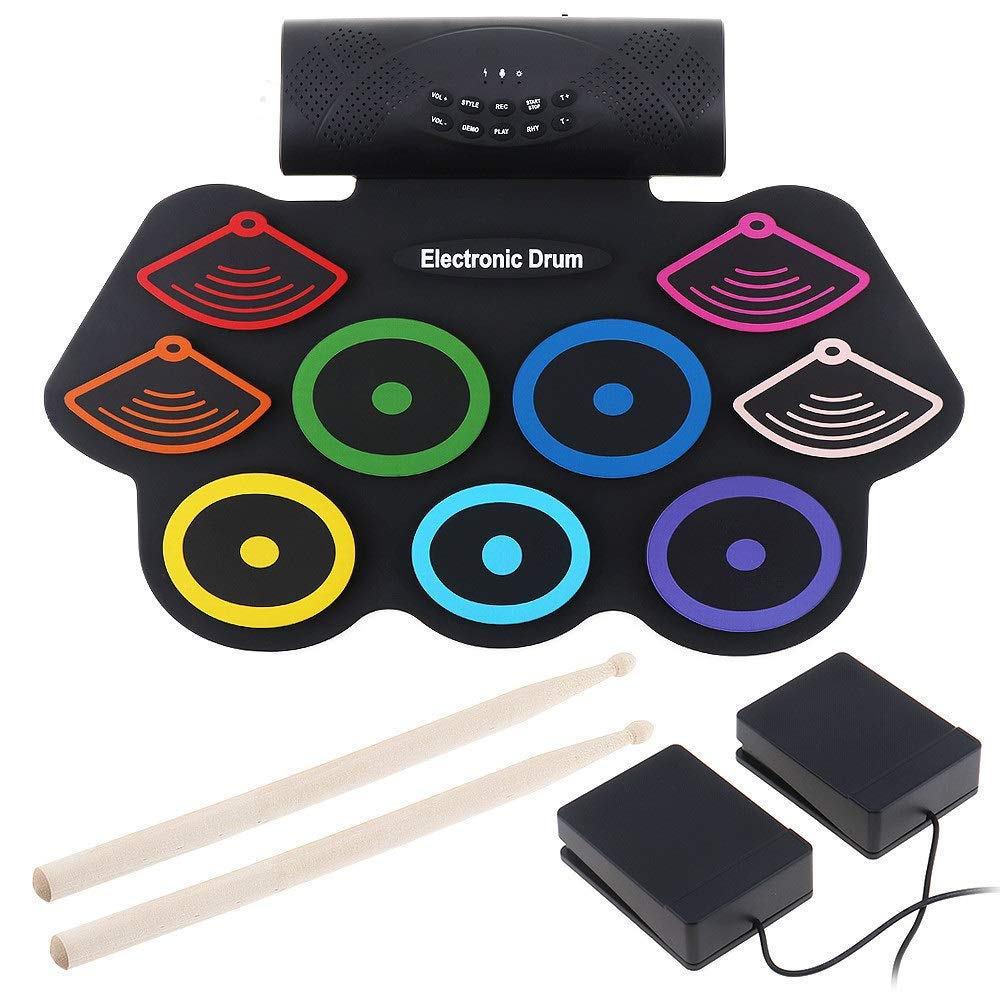 Electronic Roll Up MIDI Drum Kit Electronic Drum Set MIDI Drum Kit Supports DTX Game With 9 Silicon Pad Headphone Jack Built-in Speaker Sustain Roll Up Practice Pedal Drum Stick Recording Play Functio by Xiejuanjuan