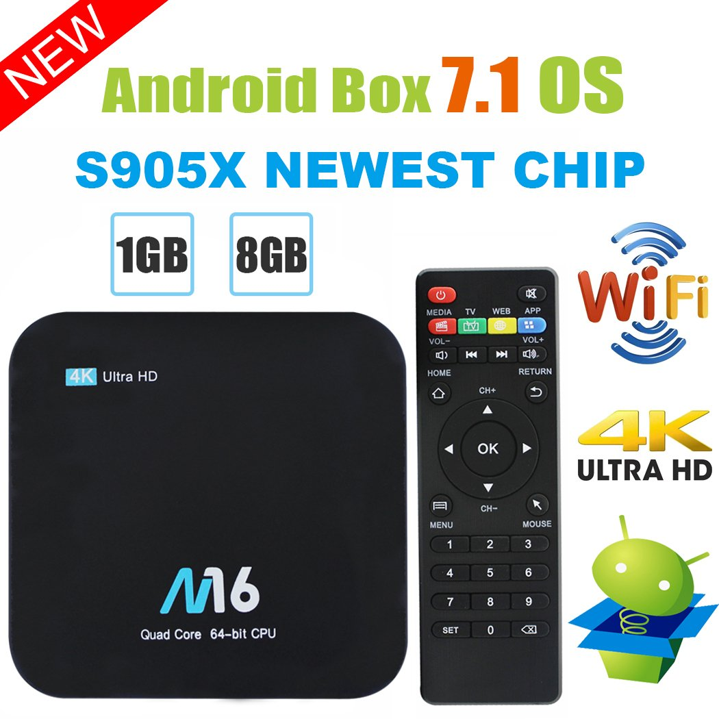 TV Box Android 7.1 - VIDEN Smart TV Box Amlogic S905X Quad Core, 1GB RAM & 8GB ROM, 4K*2K UHD H.265, HDMI, USB*2, 2.4GHz WiFi, Web TV Box, Android Set-Top Box + Control Remoto X1-11