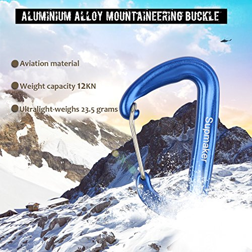 12 KN Aluminum Wiregate Carabiners Heavy Duty, Rated 2645 LBS each Lightweight Carabiner Clips for Hammocks, Camping, Hiking & Utility