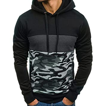 Mens Casual Lightweight Drawstring Camouflage Pullover Hoodie Spring Autumn Winter Hooded Sweatshirt