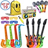 MI KAKA Inflatable Instruments Rock Star Toy Set for Party Decoration Prop Photobooth Props Party Pin Games Bags Favours (19 Pieces Random Color)