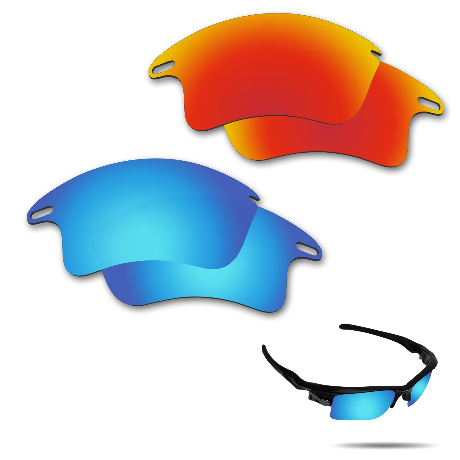 9f5ab6551b Fiskr Anti-Saltwater Polarized Replacement Lenses for Oakley Fast Jacket XL  Sunglasses 2 Pairs Packed