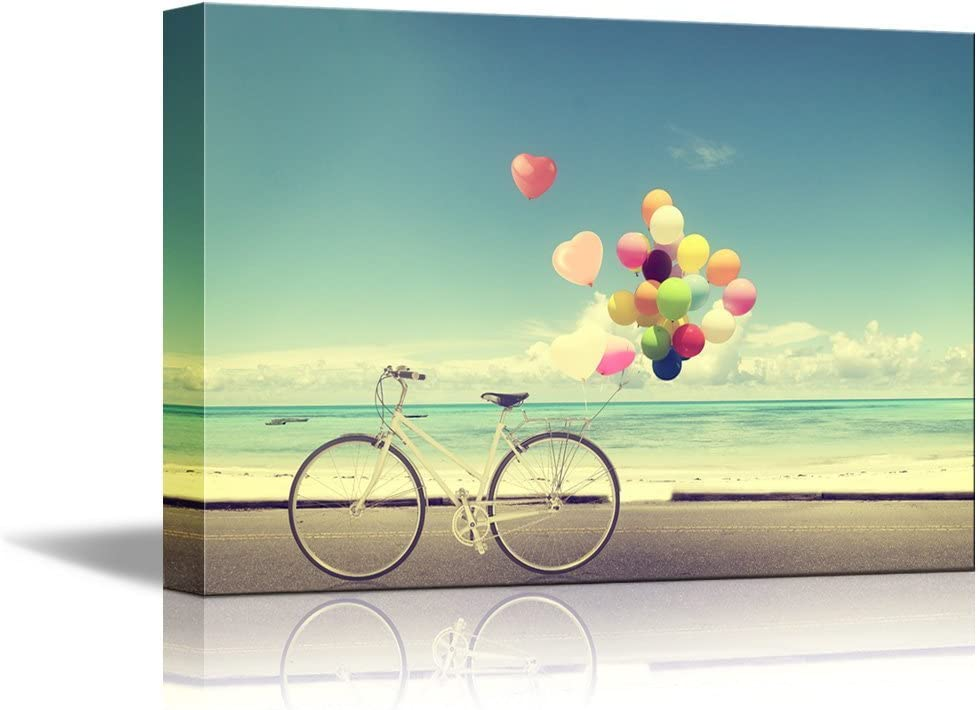 Bicycle Vintage with Heart Balloon On Beach Blue Sky Canvas Print Wall Art Ready to Hang - 24