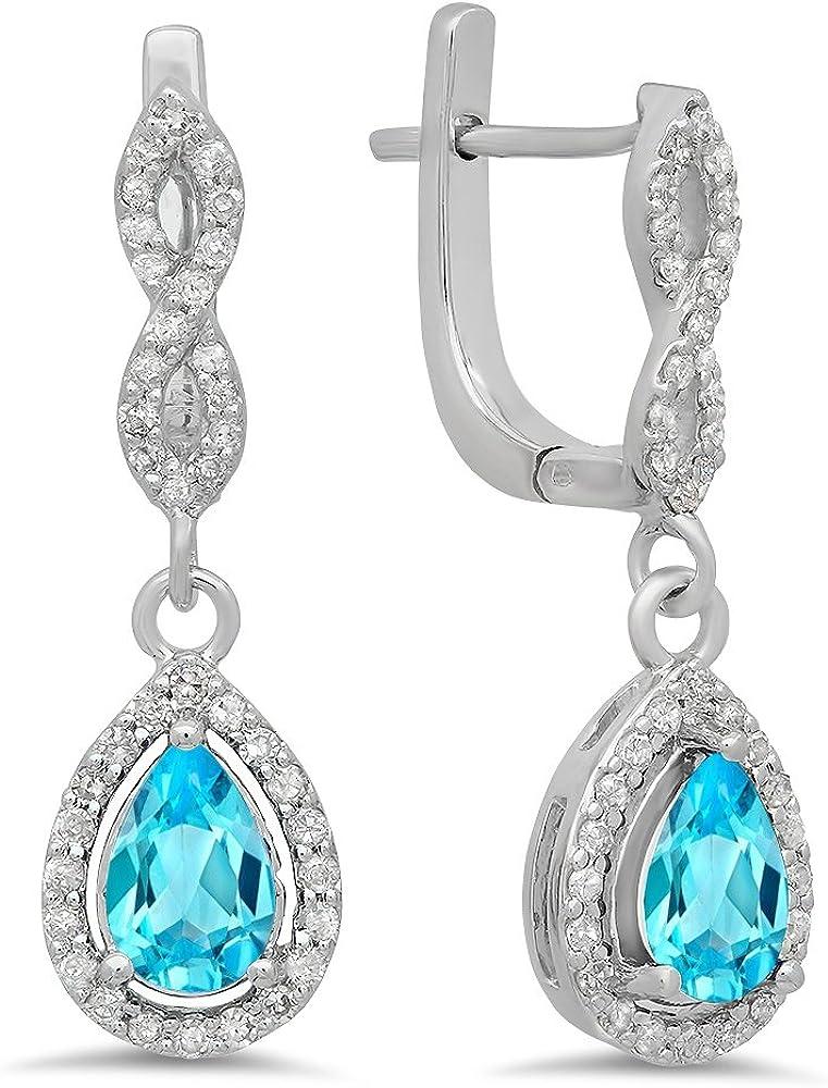 14K oro blanco pera corte Azul Topacio y corte redondo blanco diamante señoras Halo pendientes de gota colgando por dazzlingrock colección
