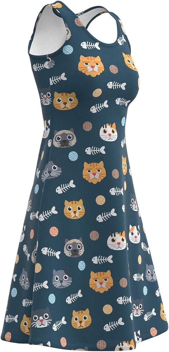 EightyThree XYZ Cute Cats /& Dogs Pattern Womens Sleeveless Dress XS-5XL