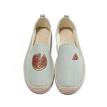 YOPAIYA Zapatos Planos Bordados Pizza Flats Zapatos de Mujer Mocasines Slip-On: Amazon.es: Deportes y aire libre