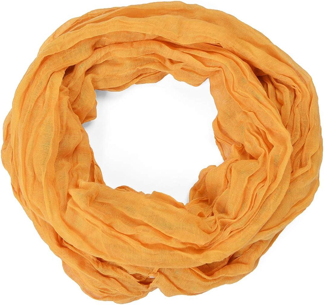 Miobo Krinkle Loop offen Schal Knitter Halstuch Unifarbe 70 x 180 Fr/ühling Sommer Herbst