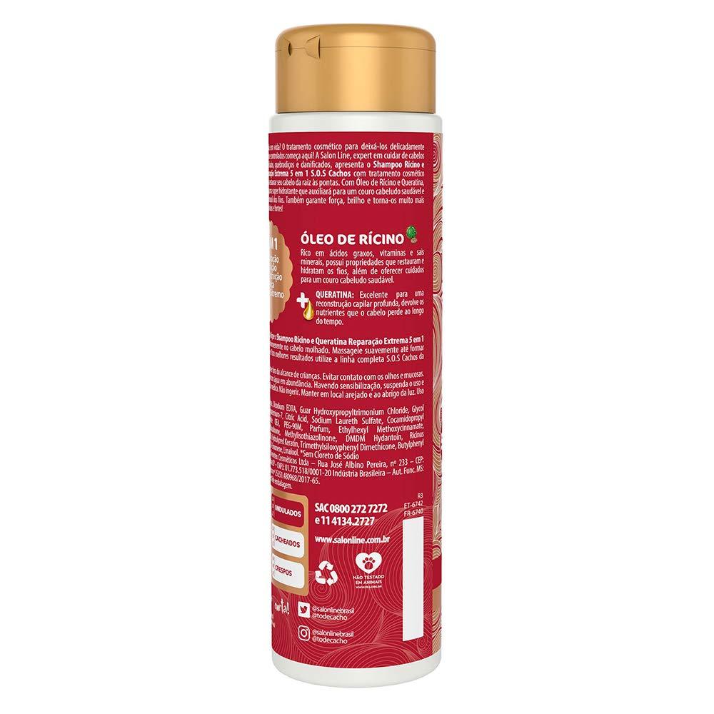 Amazon.com : Linha Tratamento (SOS Cachos) Salon Line - Shampoo Ricino e Queratina - Reparacao Extrema 5 em 1 - 300 Ml - (SOS Curls - 5 in 1 Extreme ...