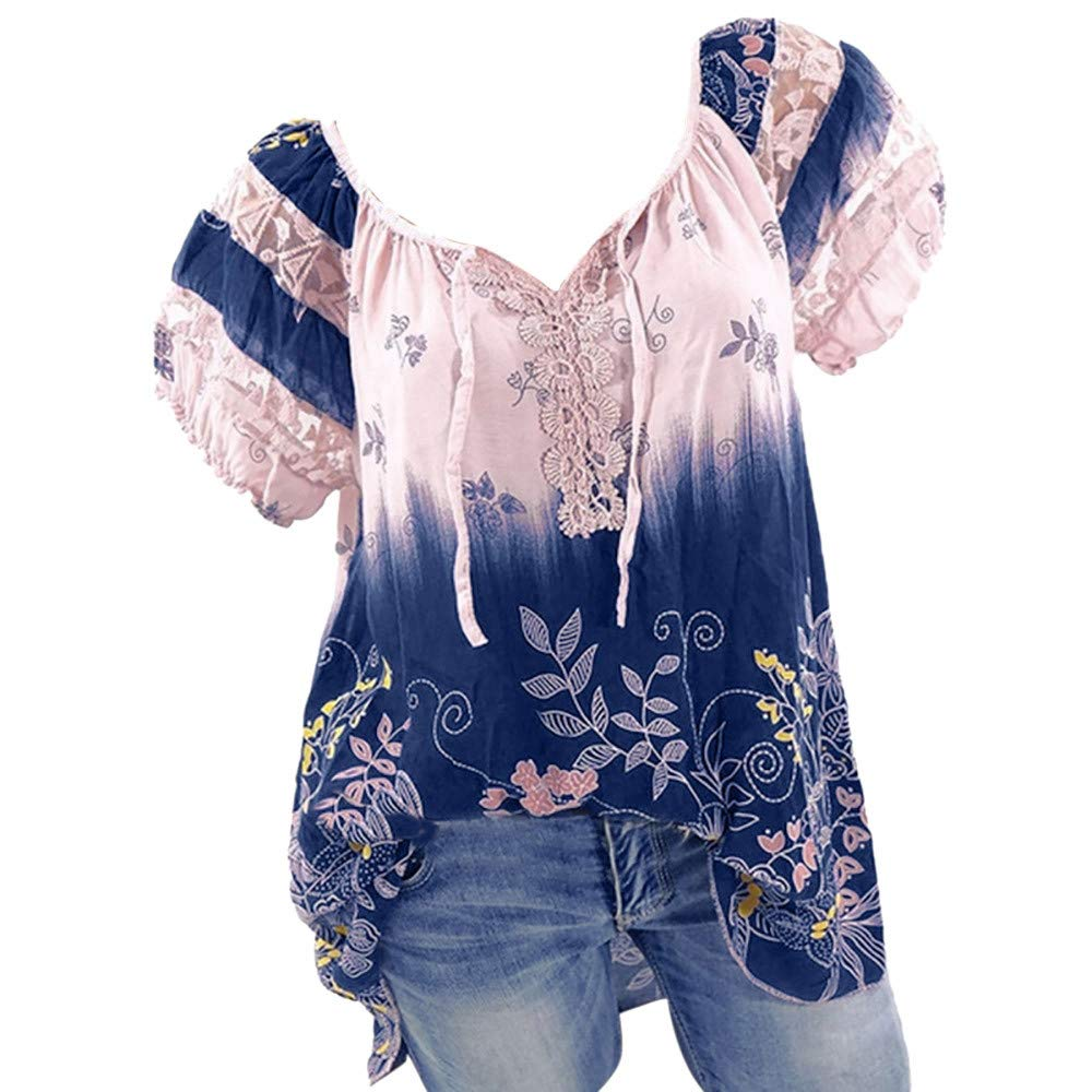 Palalibin Womens Summer/Spring Top, Short Sleeve Shirt 2019 New V-Neck Lace Printed Loose T Shirt Tops Blouse (Purple,XXXXL)