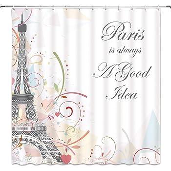 Feierman Romantic Eiffel Tower Shower Curtain Decor Art Simple Paris Bathroom Set With Hooks 70x70Inches