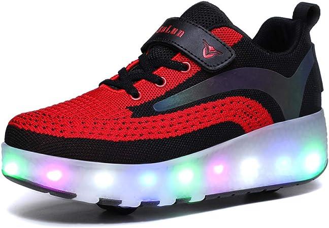 YIN Automtica Ruedas Ajustables LED Zapatillas con Luces Ruedas Zapatos De Skate Roller Deportivos Patines Sneaker para Nios Nias,Black-38: Amazon.es: Hogar