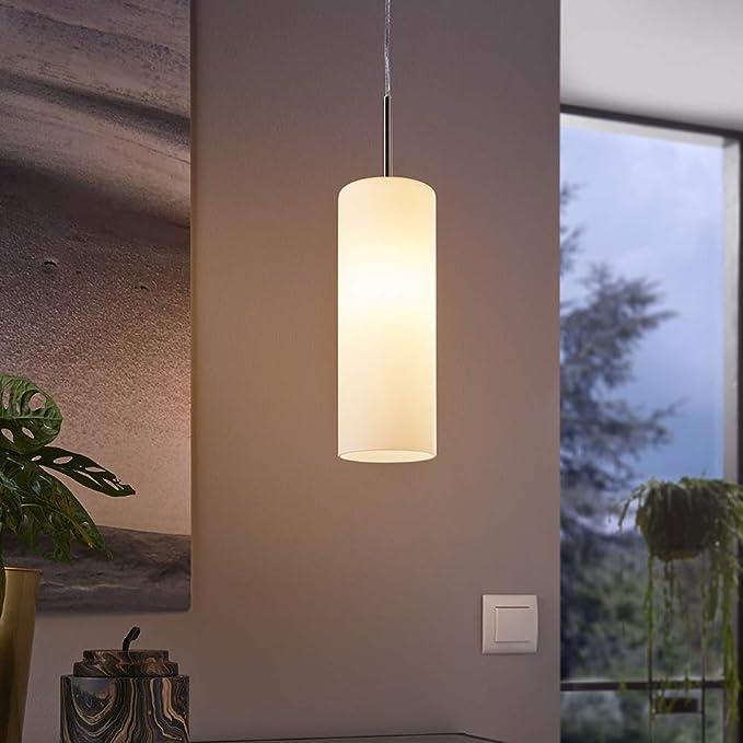 Eglo 85977 Troy 3 Lámpara colgante (Acero niquelado acabado mate y cristal satinado blanco, 1 bombilla E27 máx. 60 W, diámetro 10,5 cm, altura 110