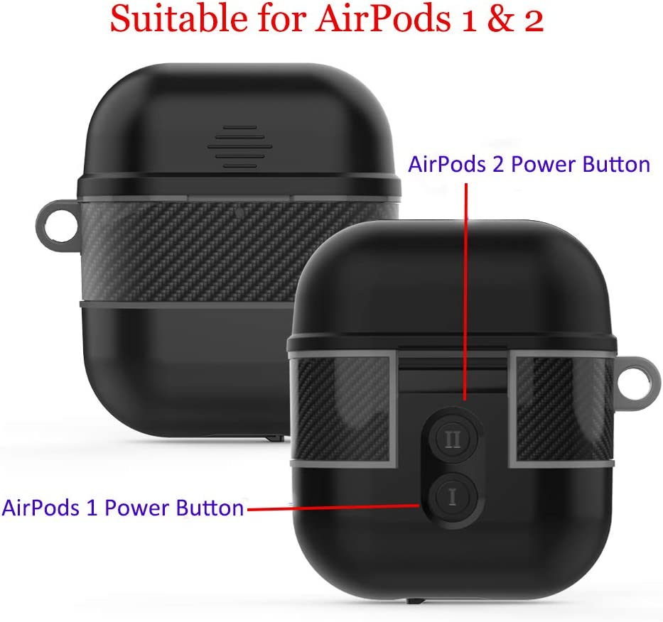 YOGRE Airpod 1 and 2 Waterproof Case Support Wireless Charging Full Body Protected AirPods Case Accessories Kit Compatible with Apple Airpods 1 and 2