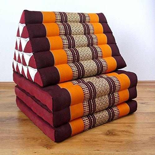 Asia Wohnstudio 3 Fold With Extra Large Triangle Cushion, 100% Natural Kapok Filling, Xxl Jumbo Thai Pillow, Headrest (Thai Cushion Triangle) by Asia Wohnstudio