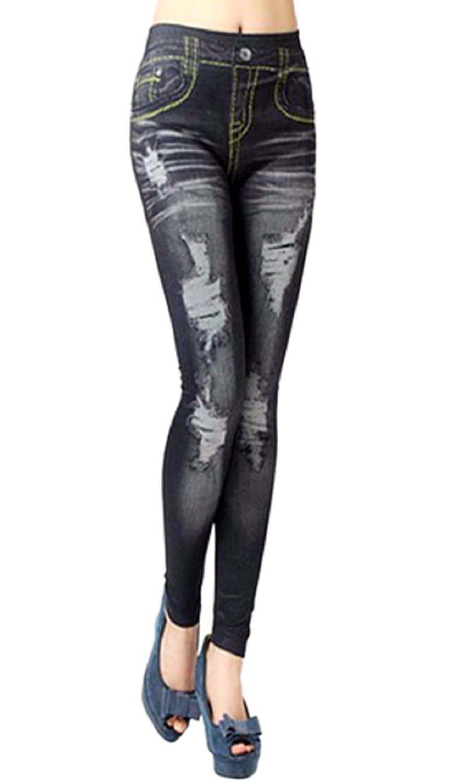 """(Noir) Leggings Femme Jeans Effet déchiré Pantacollant One Size Élastique Adhésif Idée Cadeau"""","""