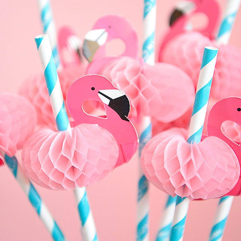 Flamingo Paper Straw Decorations, 50 PCS Disposable Cocktail Drinking Straws Decorative for Party Table Décor Luau Party by HansGo