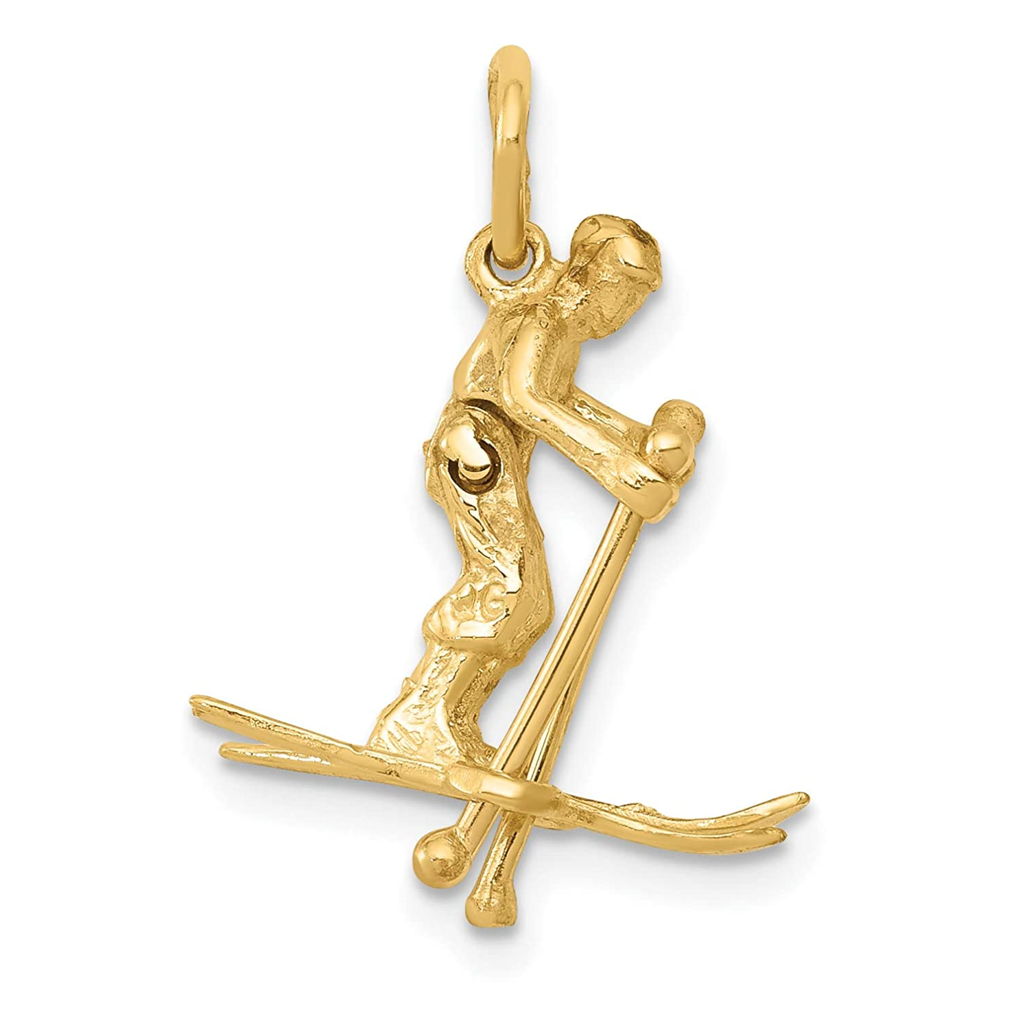 20 x 15 mm 14k Yellow Gold Moveable Snow Skier Charm