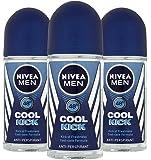 Nivea for Men Cool Kick 48 Hr. Anti-perspirant Roll-on Deodorant. 50 Ml (Pack of 3)