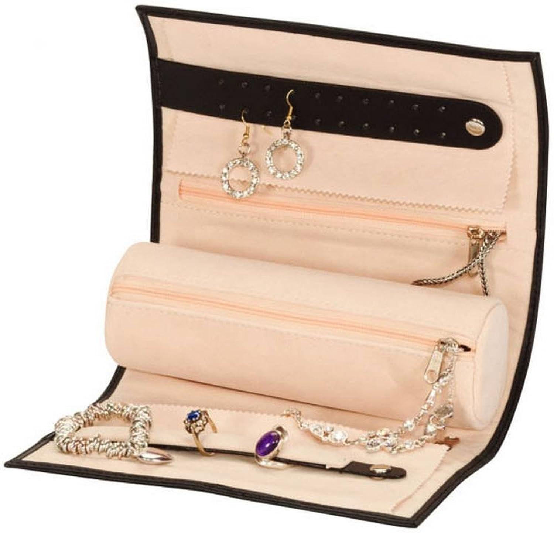 Black Bonded Leather Jewellery Roll Amazoncouk Jewellery