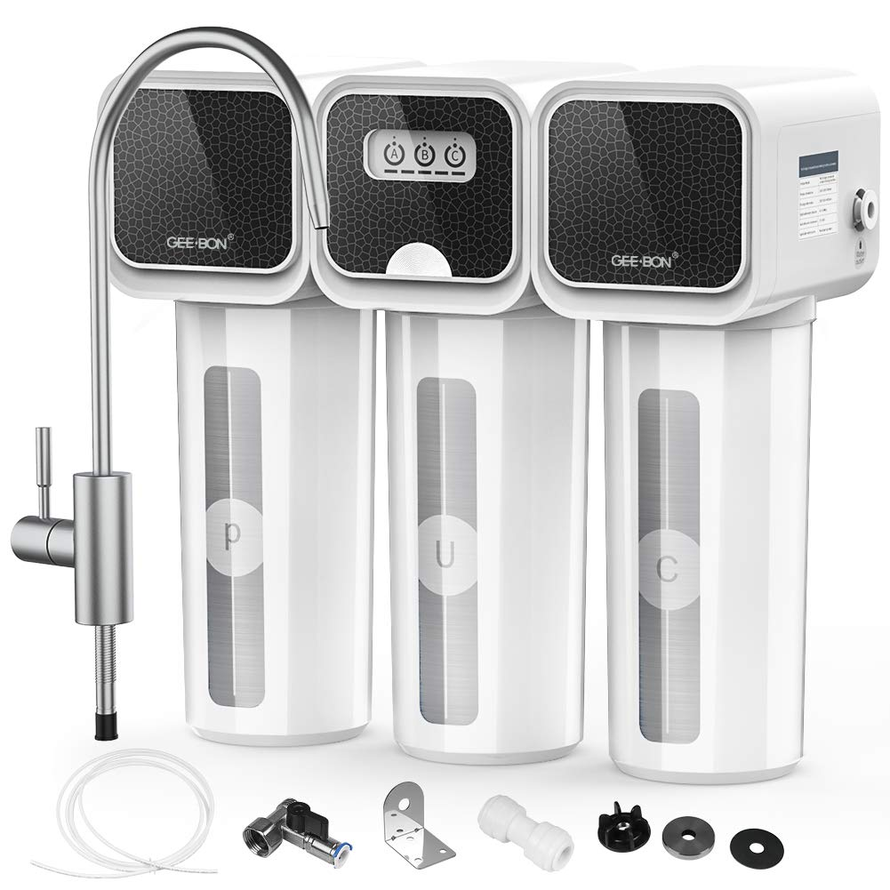 GEE BON 0.01μm Ultra-Filtration Tankless Under Sink Water Filter System, 5-Stage High Capacity Water Filtration System Removes 99.99% of Lead, Chlorine, Fluoride, Bad Taste, No Waste Water, UF08