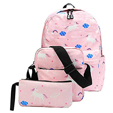 688883438204 Water-Resistant Unicorn Backpack for School Teen Girls and Boys - 10-Piece  Gift Set