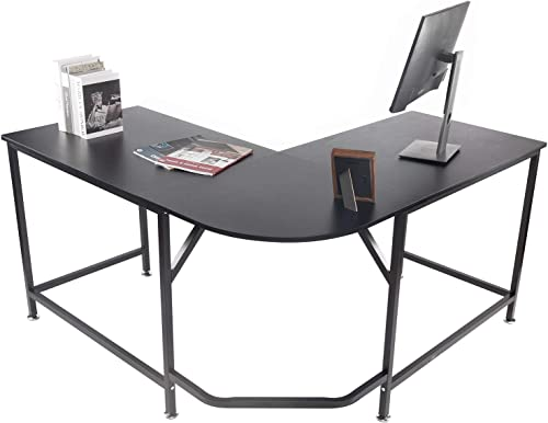 BAHOM L Shaped Corner Computer Desk, Study Writing Table Workstation for Home Office, Black