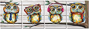 Visual Art Decor 4 Pieces Happy Owl Family Canvas Prints Animal Painting Wall Decor Dad Mom and Kids Canvas Prints Wall Art Decor for Modern Home Child Bedroom Nursery Decoration (01 Owl)