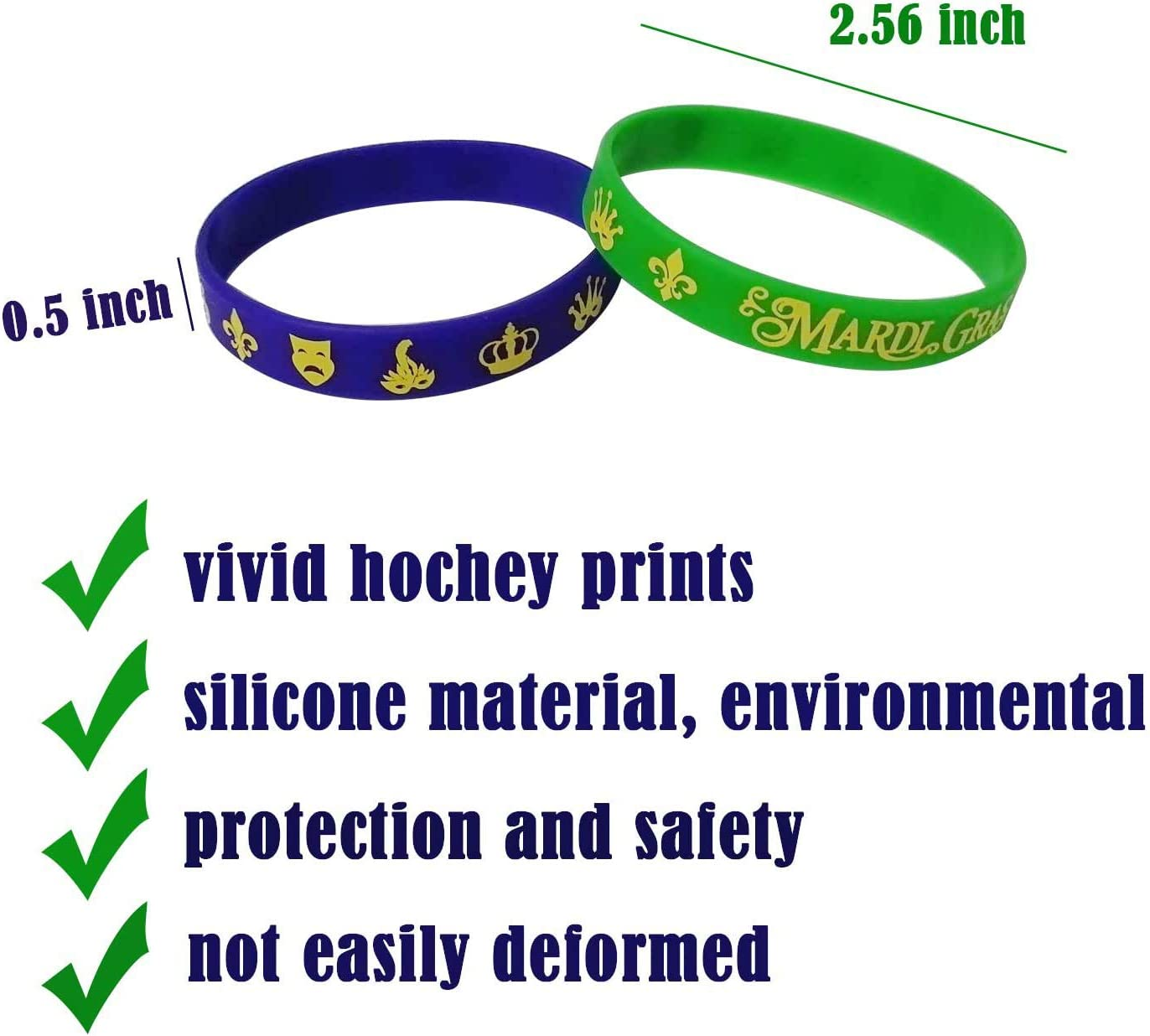36PCS Mardi Gras Party Favors Rubber Bracelets Carnival Birthday Party Supplies Decorations Goodie Bag Stuffers Fillers Silicone Wristbands