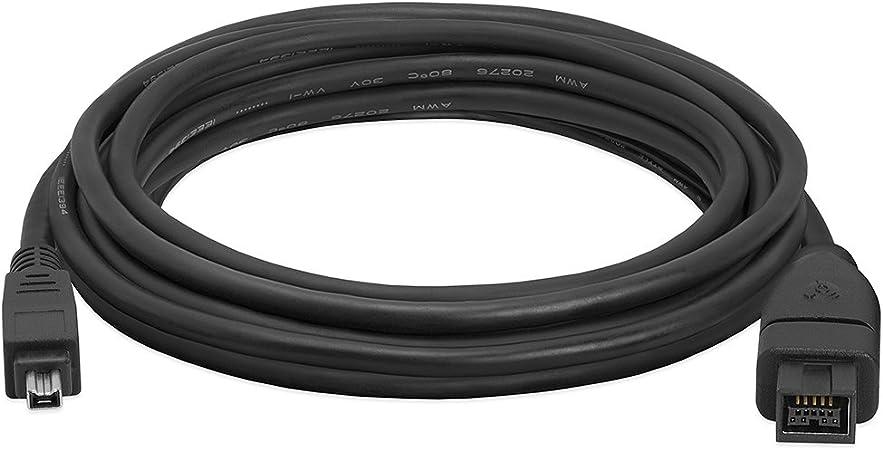 Black 15Feet FireWire 400 Cable 9 PIN// 6PIN BILINGUAL FireWire 800