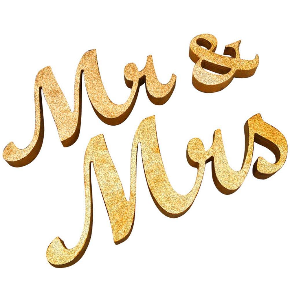 Tinksky MR MRS Wooden Letters Wedding Favors Wedding Decoration Wedding Present (Gold glitter powder)