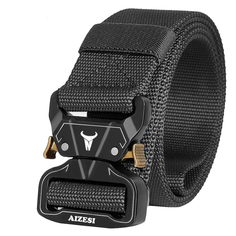 AIZESI Men Tactical Belt 1.57 Heavy Duty Belt,Quick-Release Military Style Shooters Nylon Belts with Metal Buckle