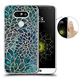LG G5 Case, Blue-green gem floral design, LAACO Scratch Resistant TPU Gel Rubber Soft Skin Silicone Protective Case Cover for LG G5