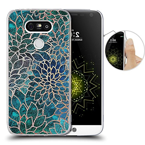 save off bde87 d1b1b LG G5 Case, Blue-green gem floral design, LAACO Scratch Resistant TPU Gel  Rubber Soft Skin Silicone Protective Case Cover for LG G5