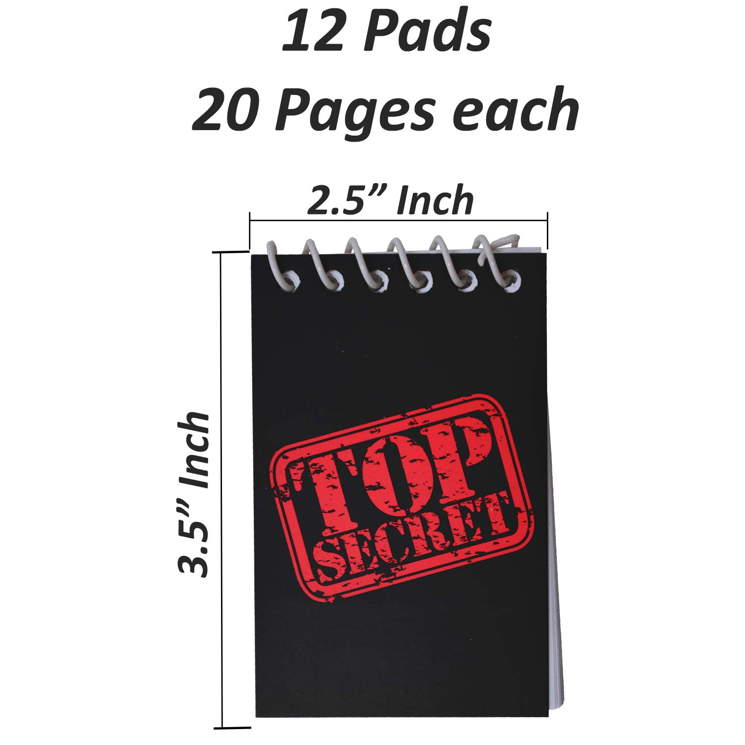 Black 12 Pack with UV Light HeroFiber Invisible Ink Spy Pen - Perfect Favor for Spy Parties Stocking Stuffers Pinatas and More Science Fairs + Mini TOP Secret Notepads 12 Pack