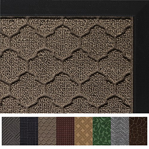 Gorilla Grip Original Durable Rubber Door Mat, 29 x 17, Heavy Duty Doormat, Indoor Outdoor, Waterproof, Easy Clean, Low-Profile Mats for Entry, Garage, Patio, High Traffic Areas, Beige Quatrefoil