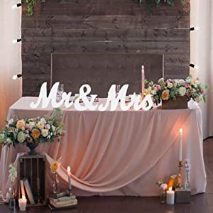 Adeeing Mr and Mrs Signs Wedding Sweetheart Table Decorations, Wooden Freestanding Letters for Photo Props, Rustic Wedding Decoration, Anniversary Wedding Shower Gift (White)