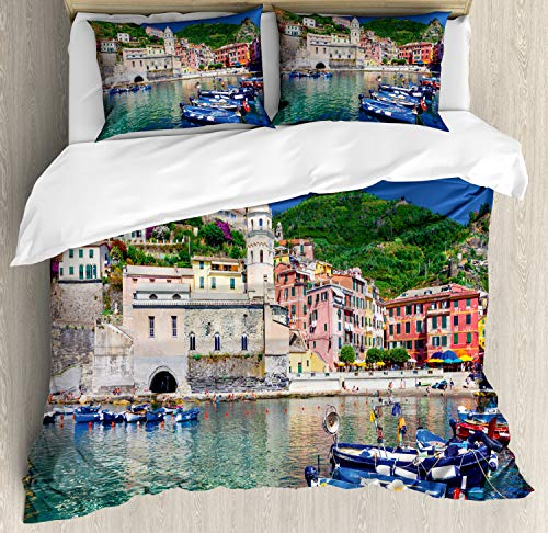Ambesonne Vernazza Duvet Cover Set, Panoramic View of Italian Village with Houses and Small Fishing Boats Print, Decorative 3 Piece Bedding Set with 2 Pillow Shams, Queen Size, Multicolor ()