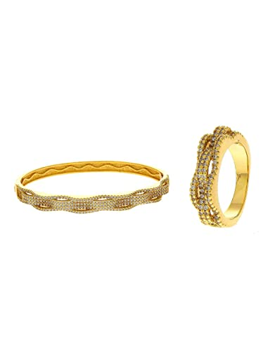 3e1af130d95396 Buy Anuradha Art Gold Finish Royal Look Beautiful Hand Kada/Bracelet With  Finger Ring For Women/Girls Online at Low Prices in India | Amazon  Jewellery Store ...