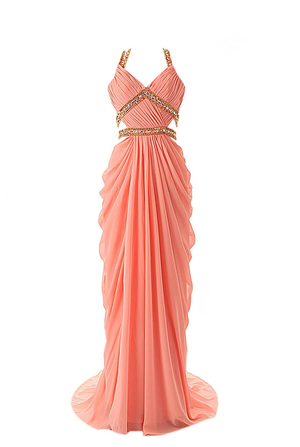 AngelDragon Sexy Halter Beading Ruffles Long Chiffon Party Dress Ball Gowns
