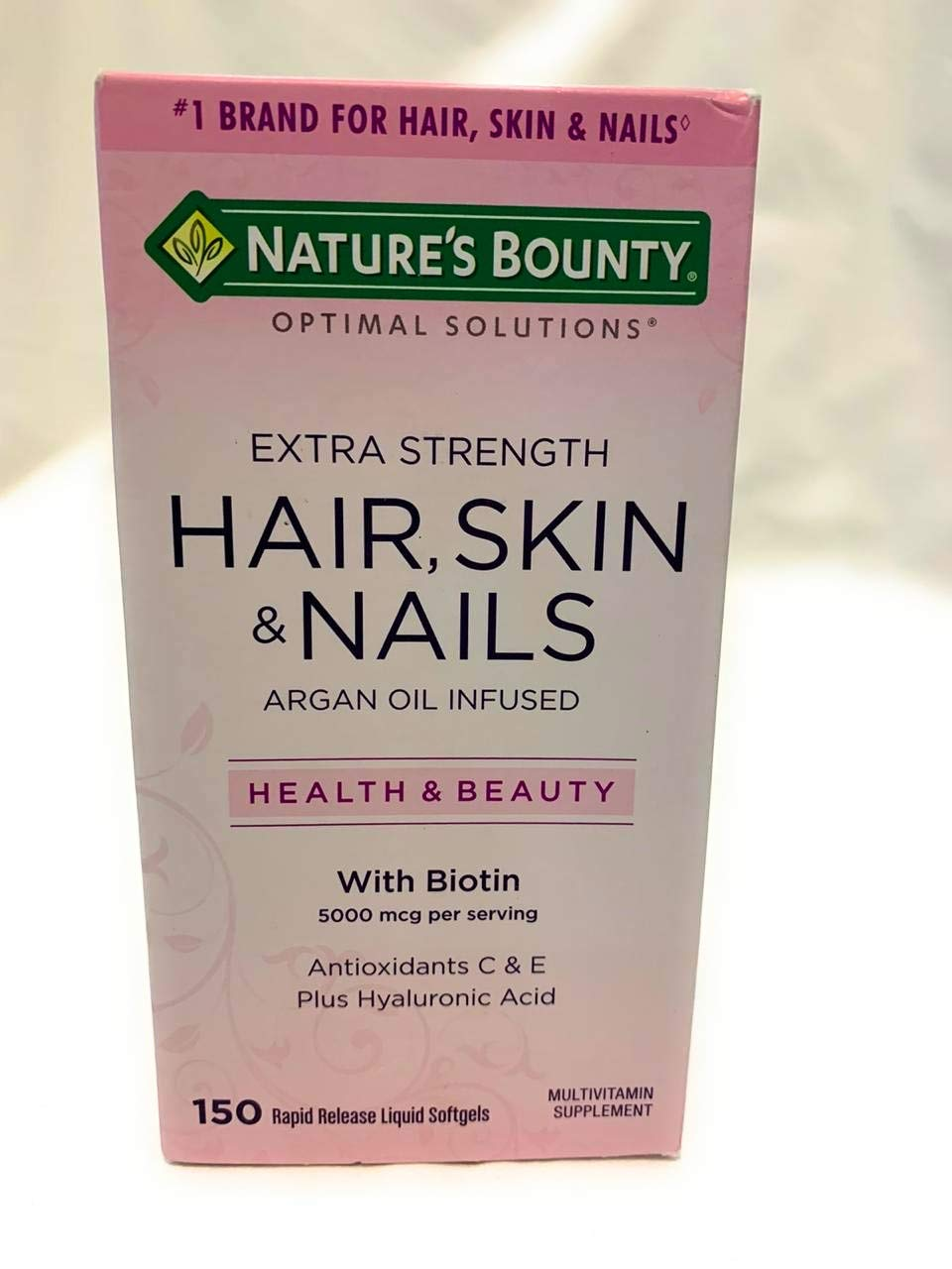 Nature's Bounty Optimal Solutions Extra Strength Hair, Skin and Nails Formula (150 count) (Pack of 4)
