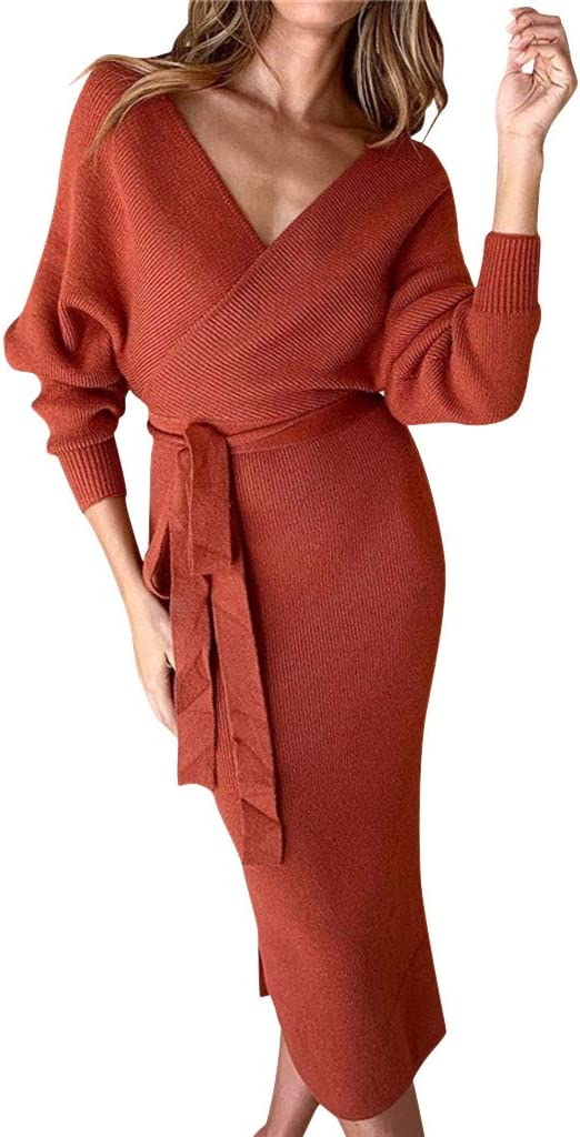 Generic Womens Winter High Neck Long Sleeve Knit Maxi Dresses