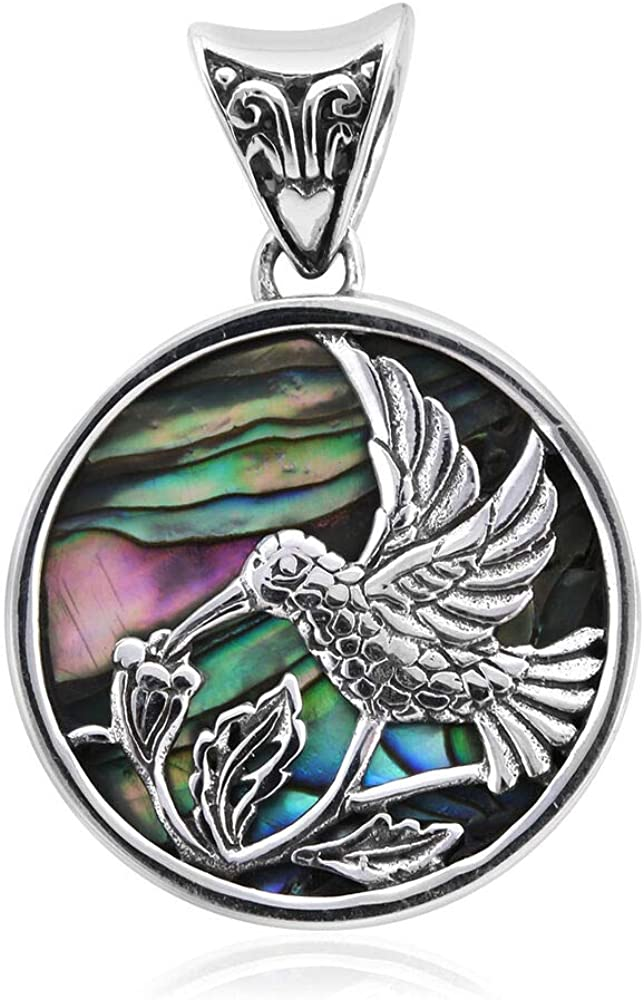 TJC 925 Sterling Silver Floral Pendant for Women and Girls with Abalone Shell