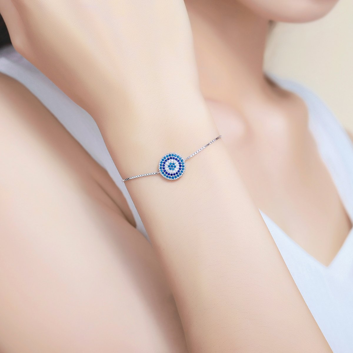 The Kiss Luxury Round Blue Lucky Eyes Adjustable 925 Sterling Silver Charm Bracelet
