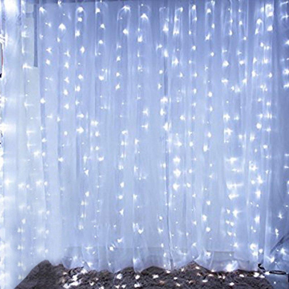 Bjour BGGD-6 18W Curtain Icicle Lights Christmas String Fairy Light Cool White, 600 LEDs, 8 Lighting Modes, 20ft Length x 10ft Width